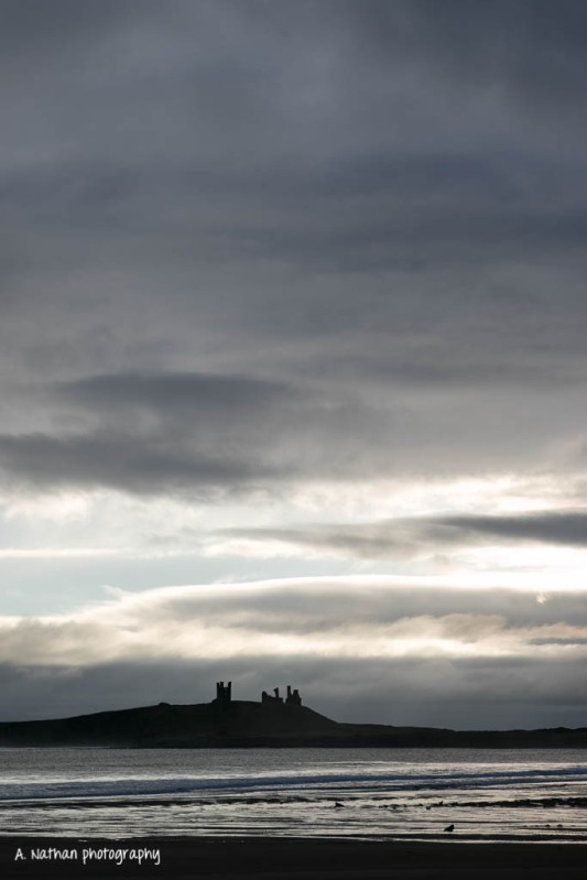 Dunstanburgh Castle - big dawn sky
