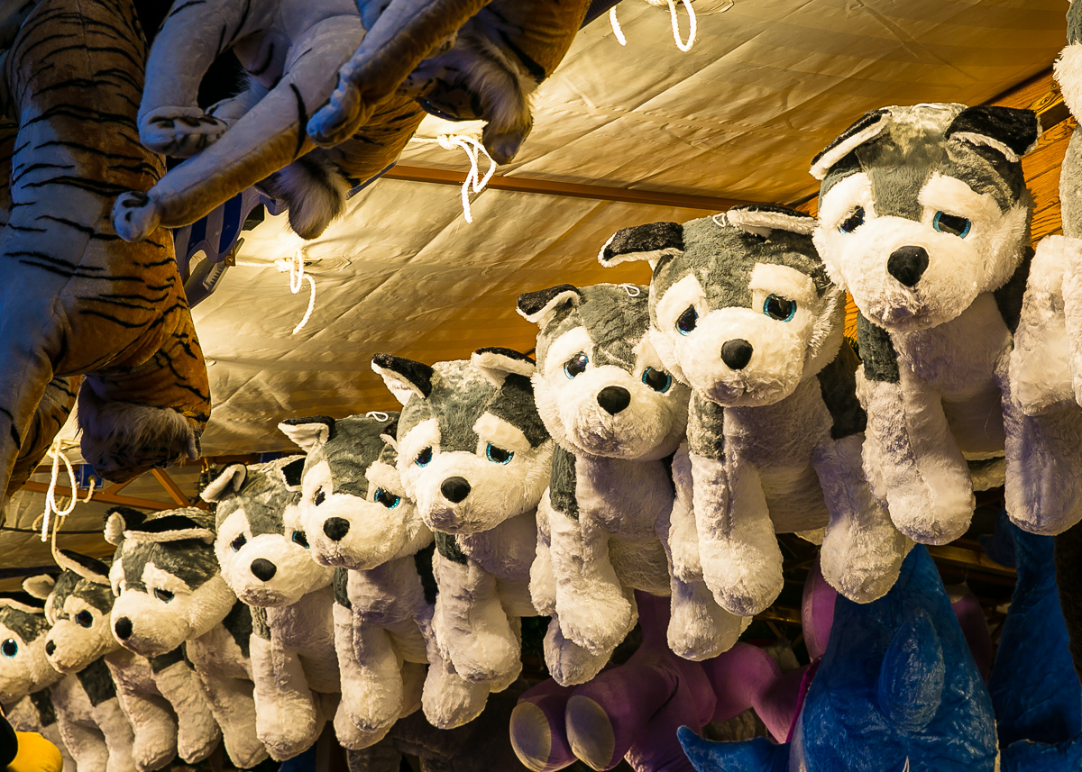Line of cuddly toys at a fairground